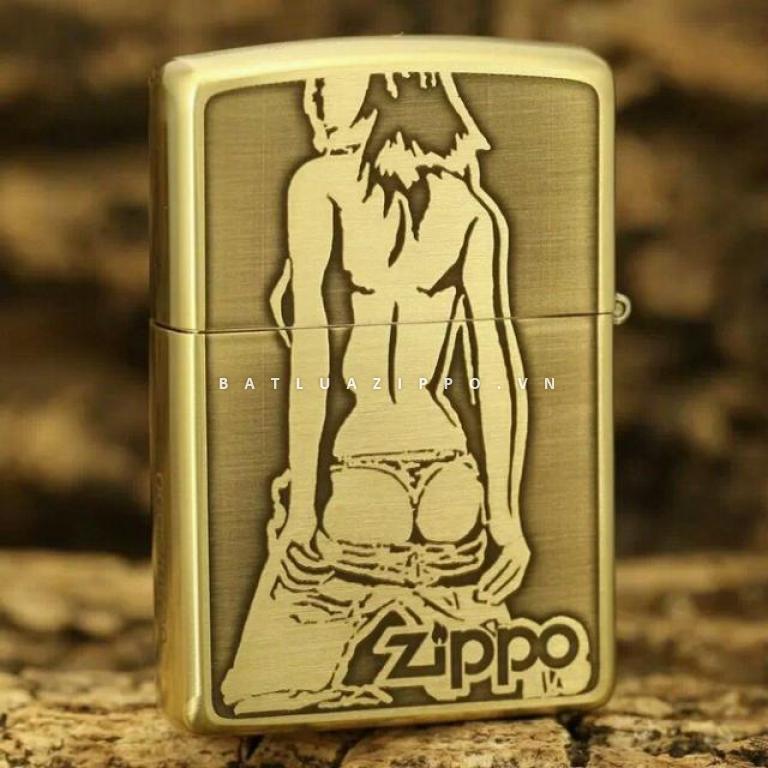 Bật lửa Zippo chất liệu đồng khắc hình cô gái sexy