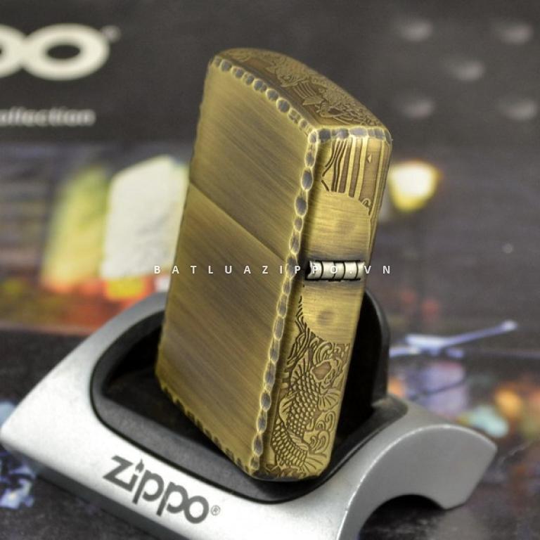 Bật lửa Zippo chính hãng đồng xước khắc cá chép bên sườn