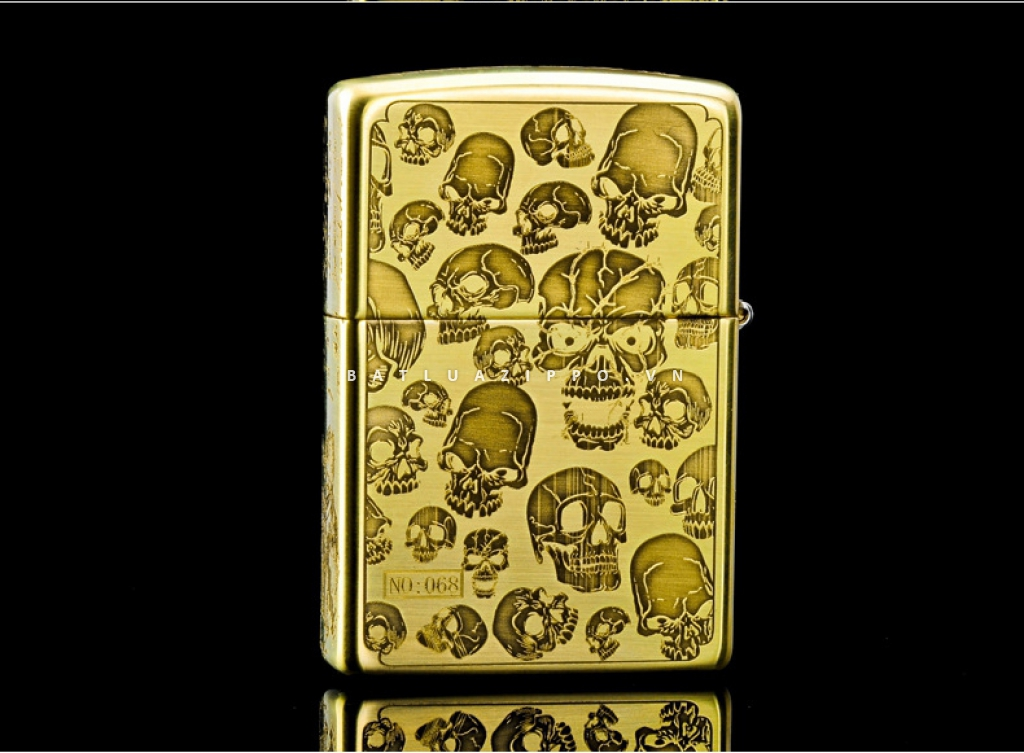ZIPPO Lighter counter genuine original brass lateral skull danger signs
