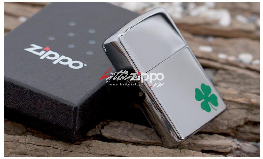 Bật lửa Zippo chính hãng 24007 cỏ 4 lá măn máy