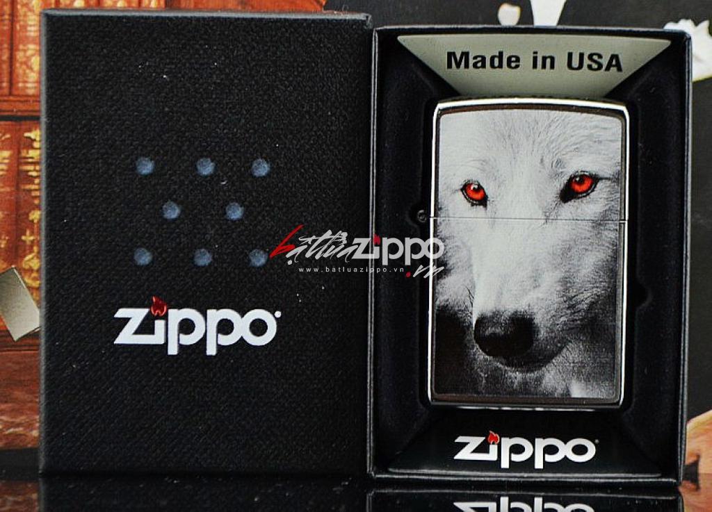 Bật lửa zippo chính hãng họa tiết mắt sói đỏ 2015