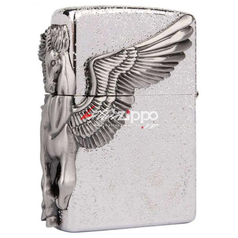 Bật lửa zippo chính hãng họa tiết ngựa thiên thần cạnh sườn phiên bản bạc