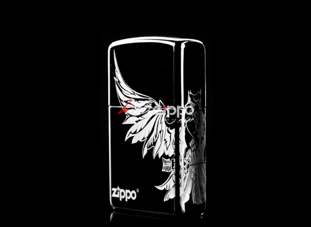 Bật lửa zippo chính hãng đen  khắc logo chim đại bàng dũng mãnh