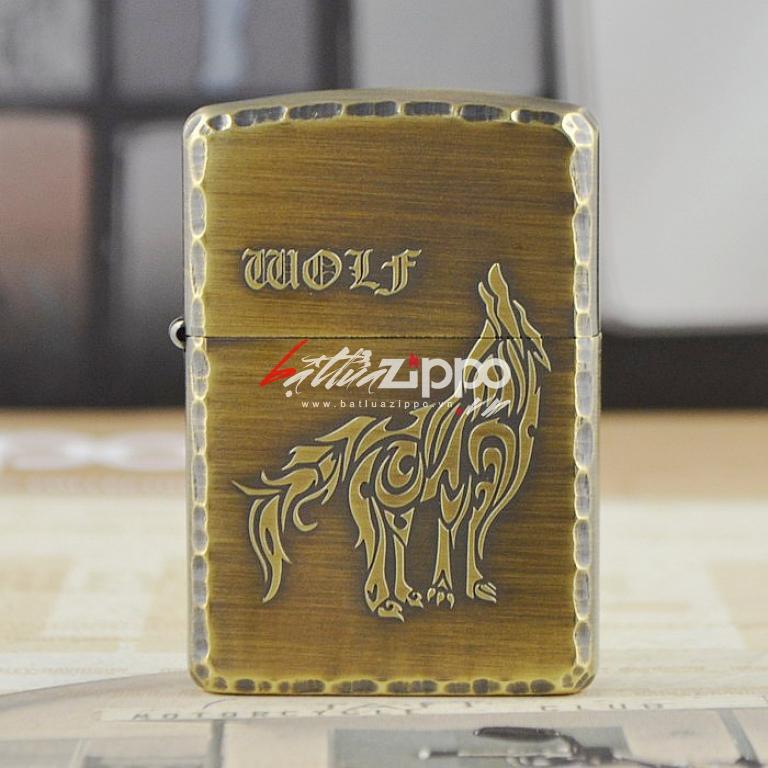 Bật lửa zippo khắc hoa văn sói
