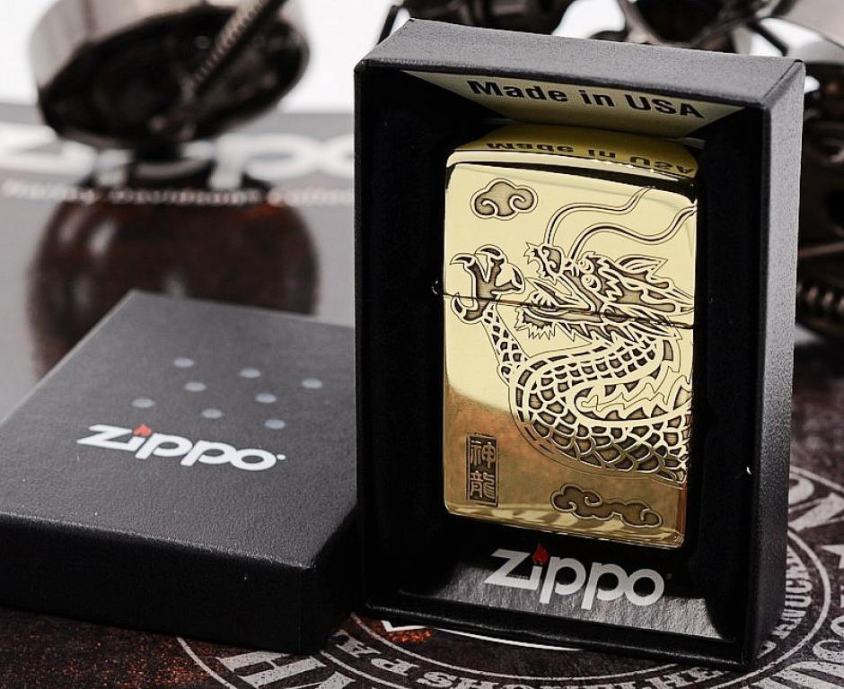 Zippo Chính Hãng Đồng Bóng Khắc Rồng Bao Quanh