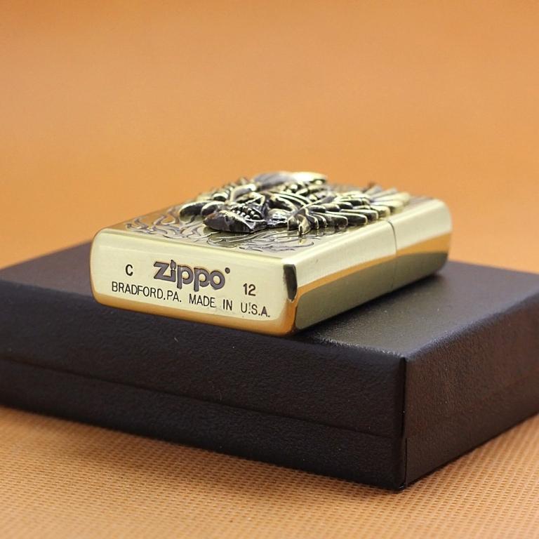 Zippo Chính Hãng Đồng Đúc Đầu Lâu Đội Vương Miện