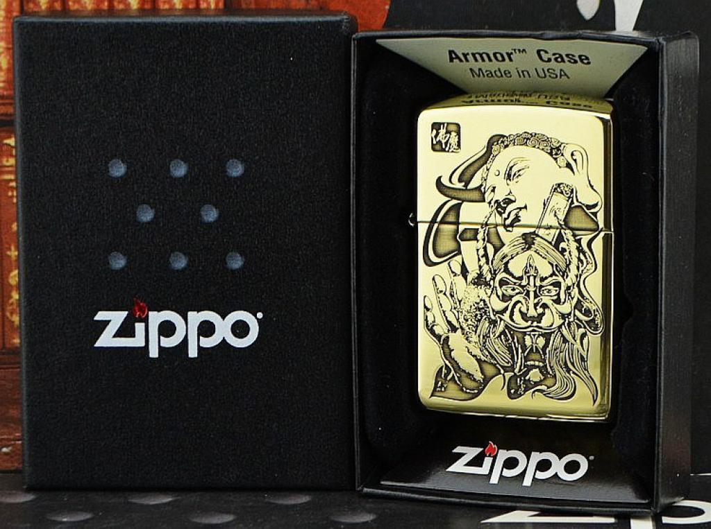 Zippo Chính Hãng Đồng Bóng  Năm Mặt Khắc Đức Phật và Phép Thuật