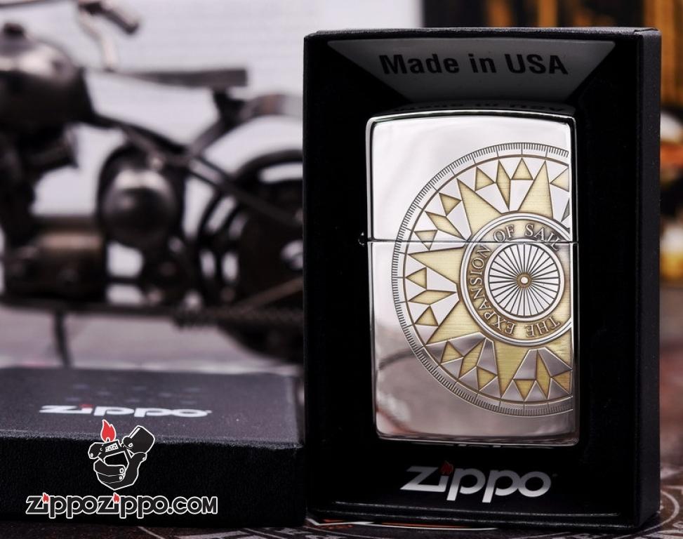 Zippo 250Hai mầu bạc vàng khắc hình la bàn