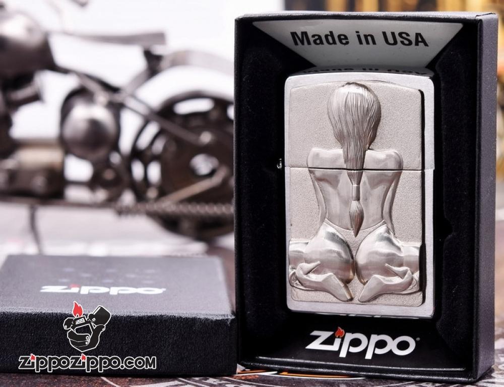 Zippo ốp Nổi 3d Hình Cô Gái Sexy