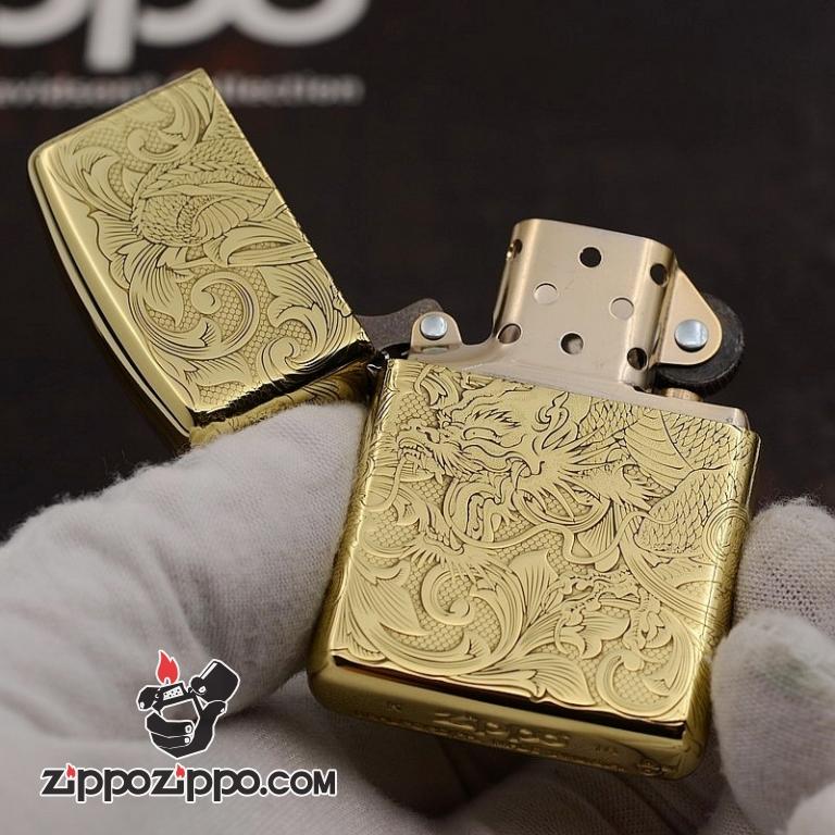 Zippo Chất Liêu Đồng phiên bản Armor Khắc Hình Rồng Nguyên Con