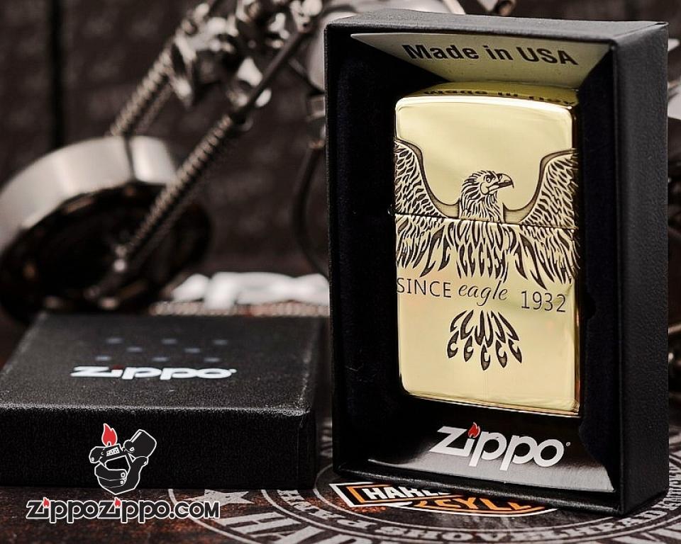 Bật Lửa Zippo Chính Hãng Màu Đồng Khắc hình since eagle Bản Armor