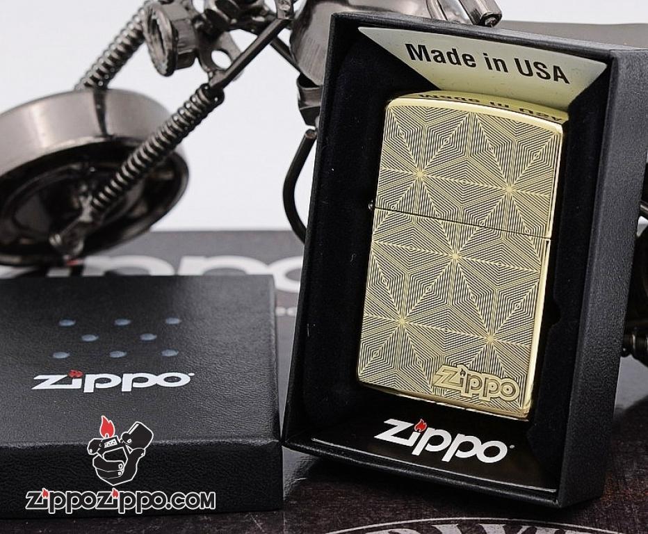 Bật Lửa Zippo Chính Hãng Chất Liêu Đồng Vân Kẻ Khắc Logo ZP