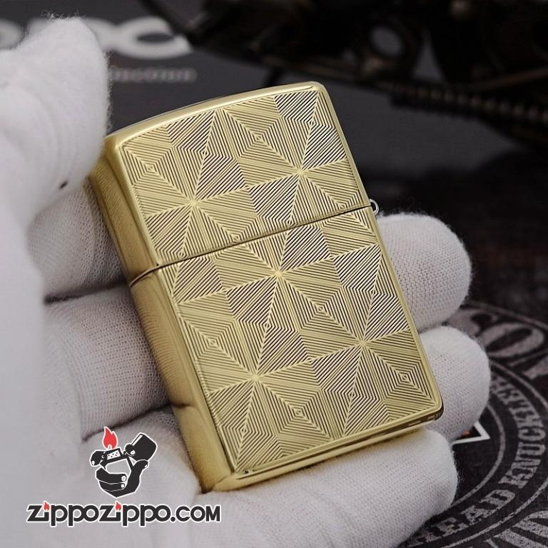 Bật Lửa Zippo Chính Hãng Chất Liêu Đồng Vân Kẻ Khắc Logo ZP bản Armor