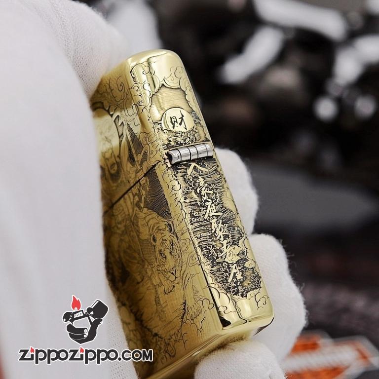 Bật Lửa Zippo đồng KHắc Hình Quan Vân Trường Armor