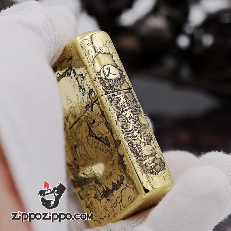 Bật Lửa Zippo đồng Khắc Hình Quan Vũ Armor