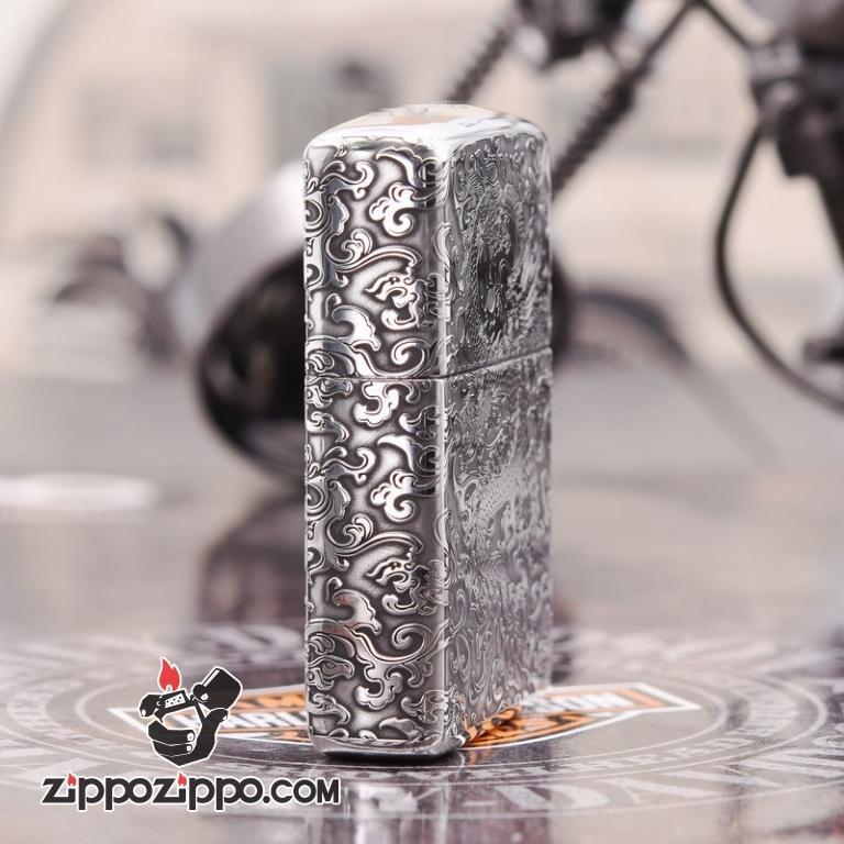 Zippo Bạc nguyên khối  Cao Cấp khắc hình rồng châu Á  Dũng Mãnh