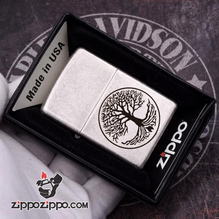 Zippo Mạ bạc cổ khắc hình Cây Của Cuộc Đời