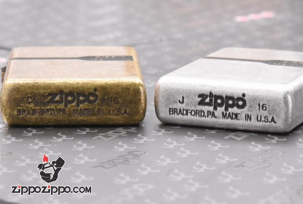 Zippo Mạ bạc giả cổ cao cấp khắc logo zippo
