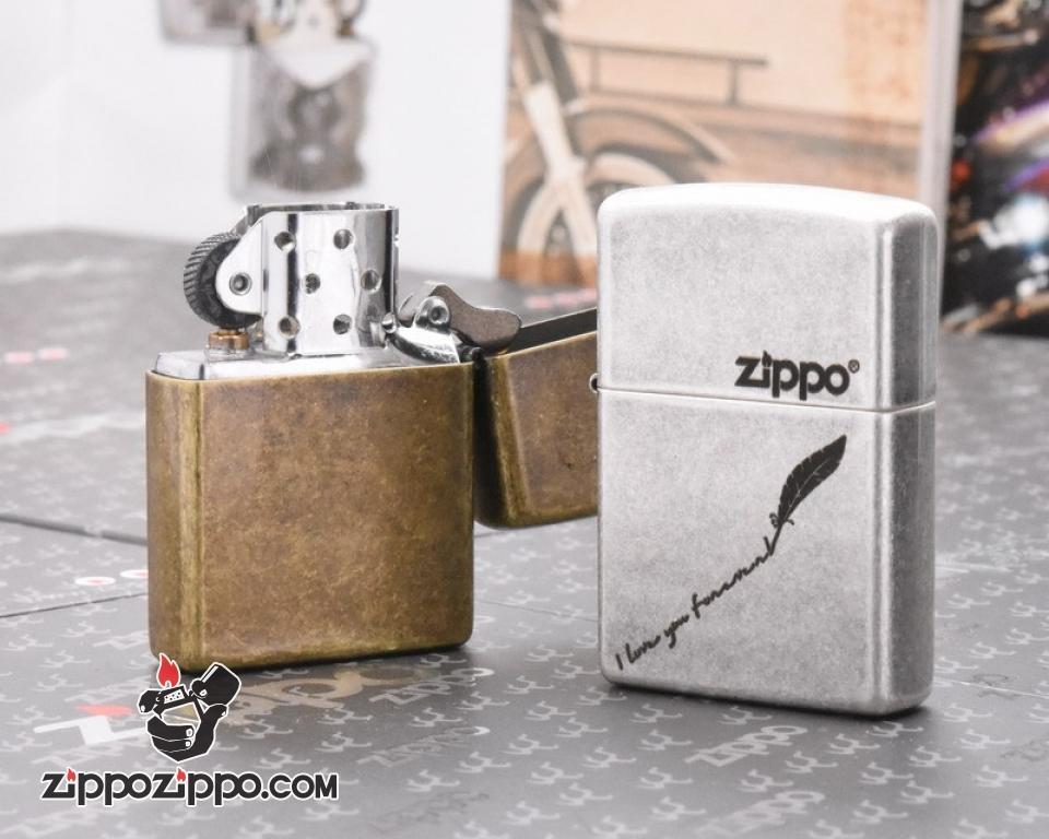 Zippo Mạ Bạc  Giả Cổ KHắc Tôi Yêu Bạn Mãi Mãi