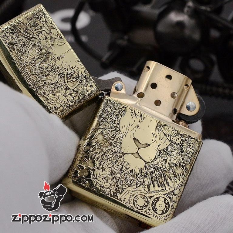 Bật Lửa Zippo Chính Hãng CHất Liệu Đồng Khắc lion punk Bản Armor