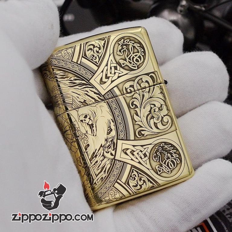 Bật Lửa Zippo Chất Liệu Đồng chạm khắc Apocalypse bốn hiệp sĩ Armor
