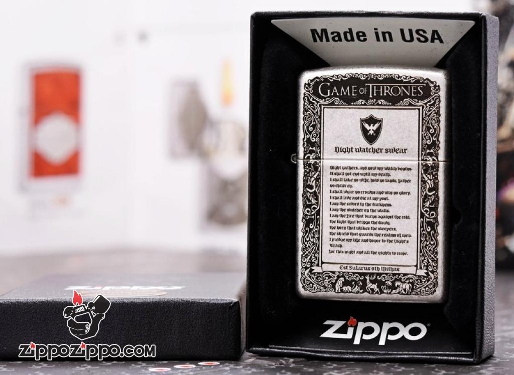 Zippo 121FB Bạc Cổ Khắc Game of Thornes