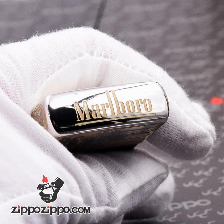 Bật Lửa Zippo Màu Đen Bóng Khắc Marlboro