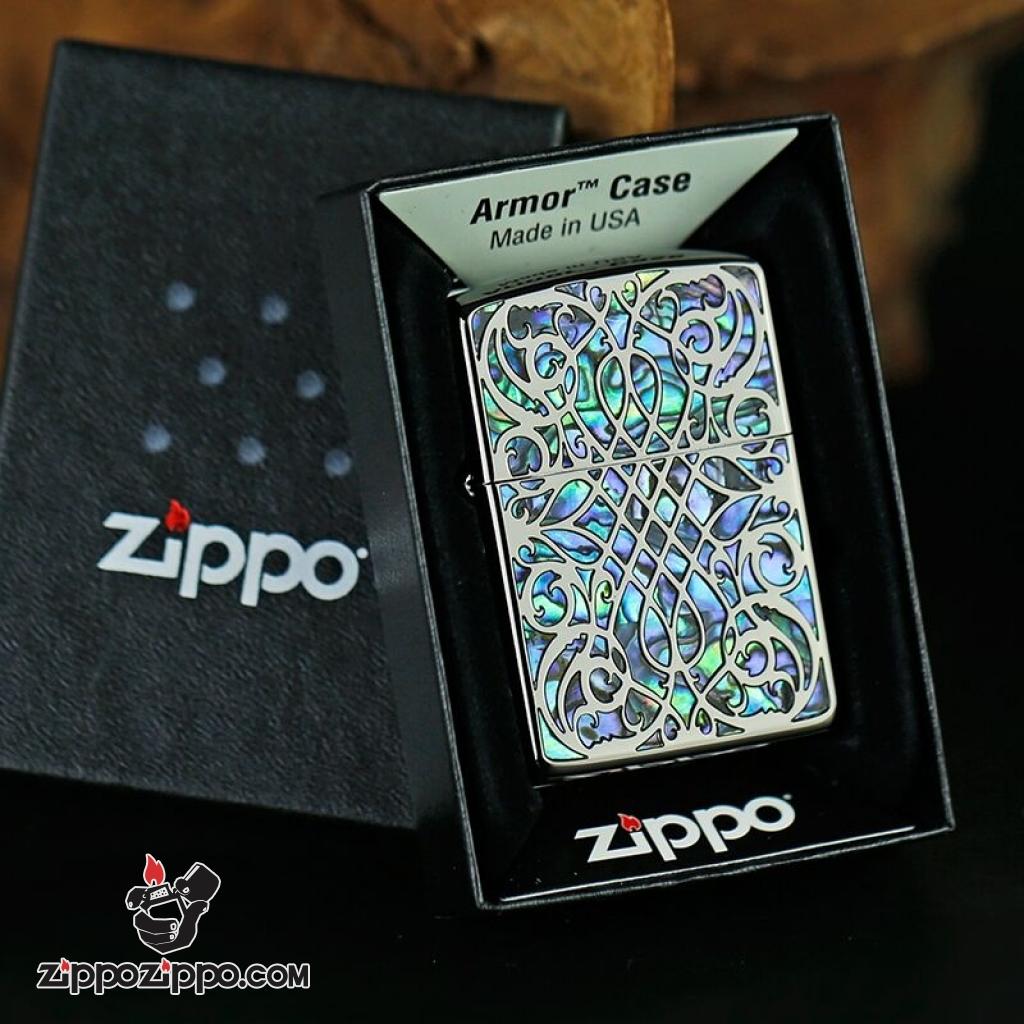 Zippo chính hãng đen khắc họa tiết khảm ngọc arabesque