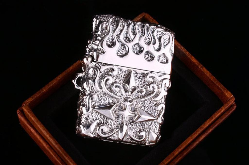 Bật lửa zippo Mỹ  điêu khắc handmade bạc tây tạng phiên bản giới hạn xuất nhật bản