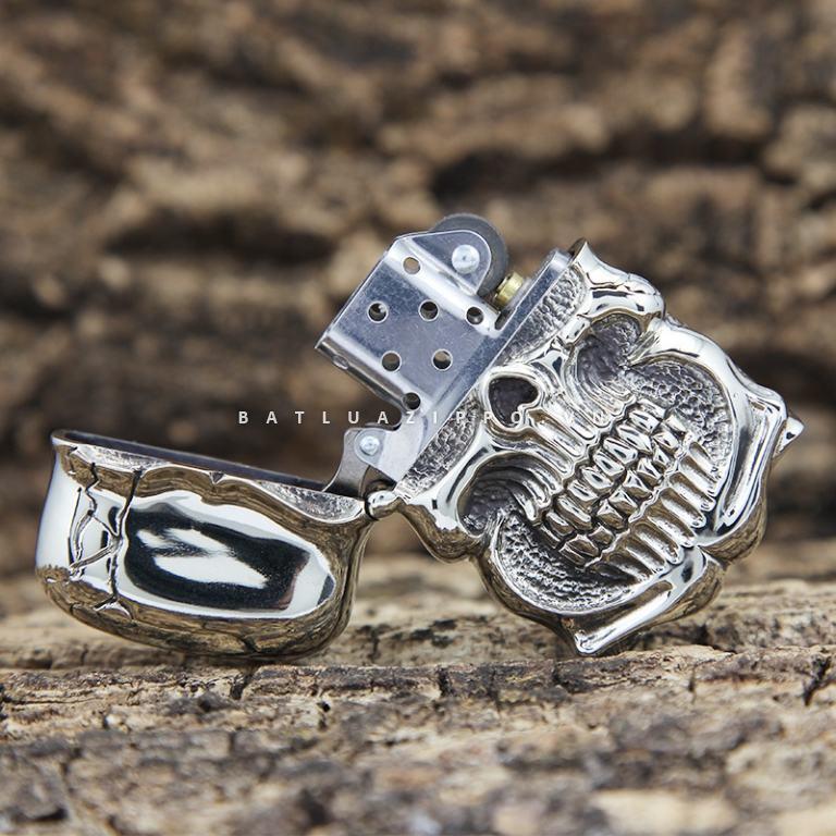 Bật lửa Zippo chính hãng Ghost Rider Demon Skull tin Cangyin hình đầu lâu