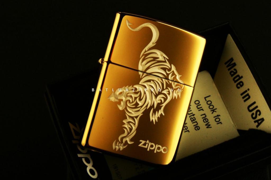 Bật lửa Zippo chính hãng vàng ìn hình hổ