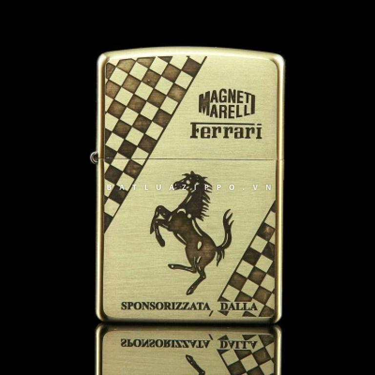 Bật lửa Zippo chính hãng đồng nhẹ khắc Ferrari