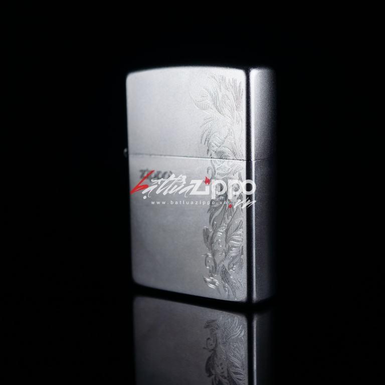 Bật lửa Zippo chính hãng 205 Bạc khắc hoa văn