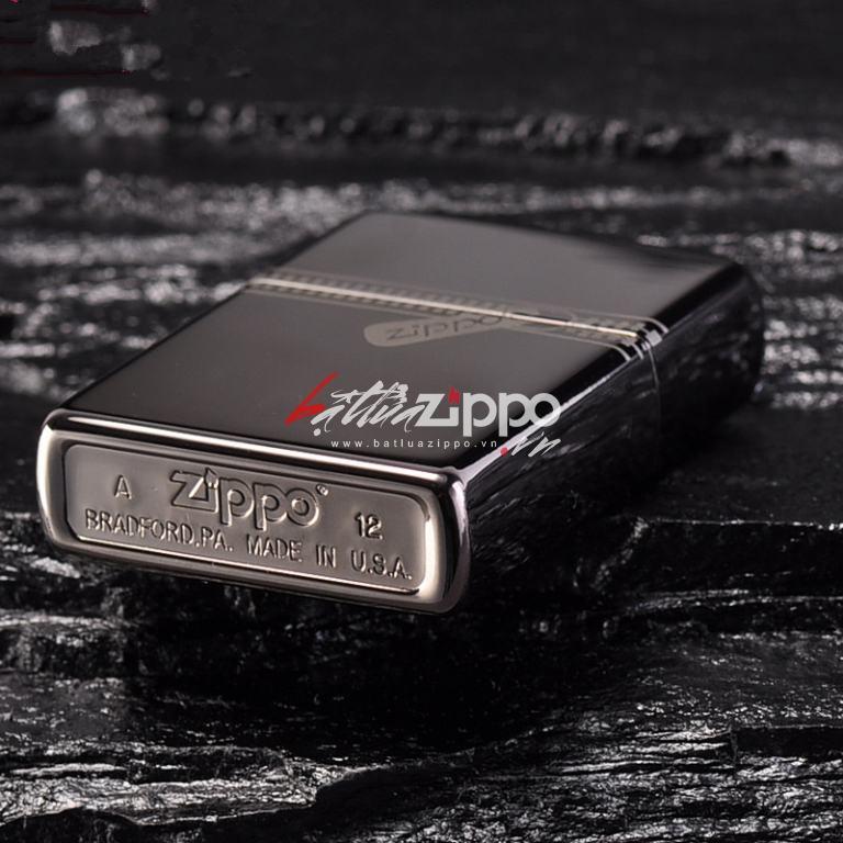 Bật lửa zippo chính hãng đen tuyền dây kéo cổ điển 21.088