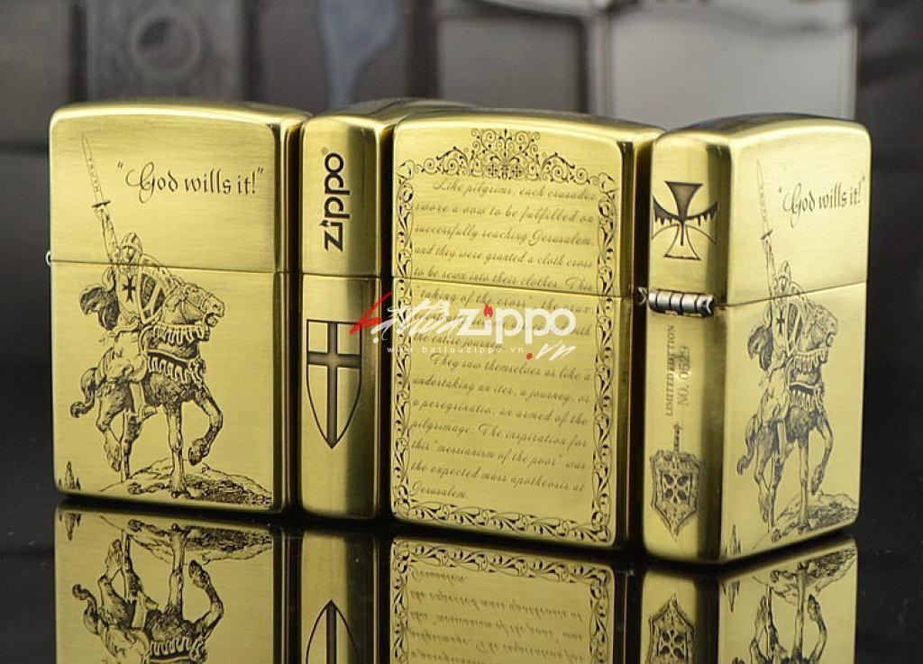 Bật lửa Zippo chính hãng đồng khắc Crusades