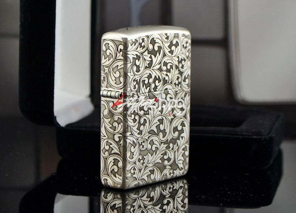 Bật lửa zippo chính hãng bạc nguyên khối  khắc hoa văn bạc nổi