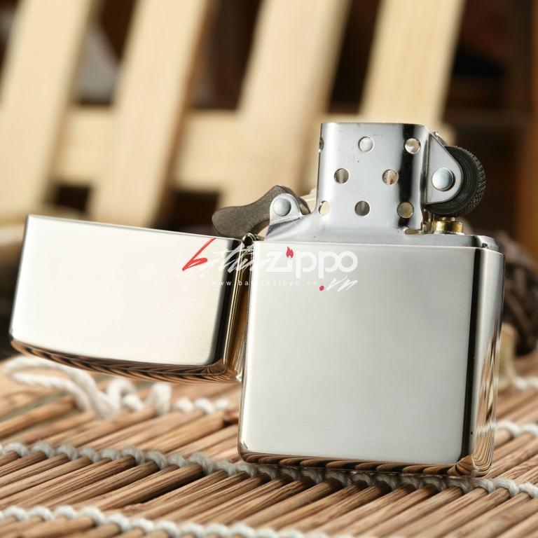 Zippo 15 - Bật lửa zippo chính hãng nguyên khối bạc trơn bóng