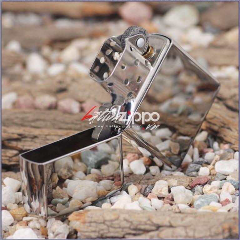 Bật lửa zippo chính hãng bạc trơn khắc chữ