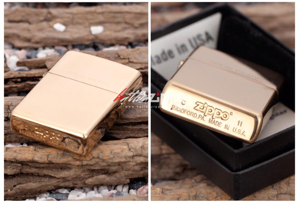 Bật lửa zippo chính hãng đồng bóng khắc chữ Solid Brass