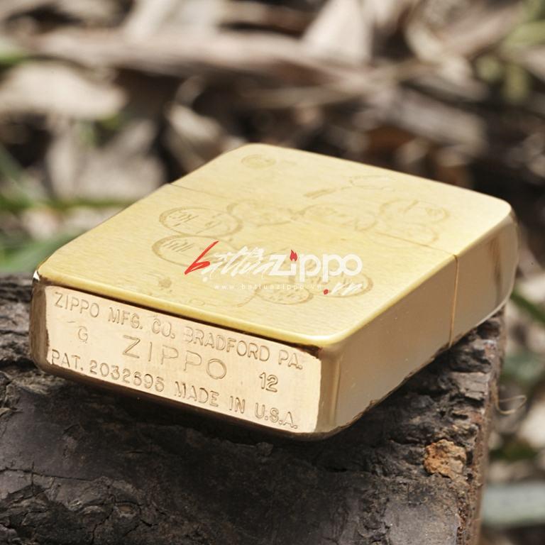 Bật lửa Zippo chính hãng đồng bản lớn khắc hình đồng tiền may mắn