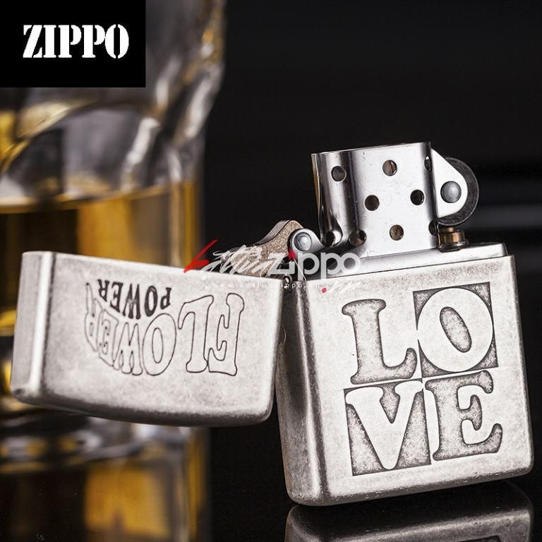 Bật lửa Zippo chính hãng bạc cổ in nổi LOVE