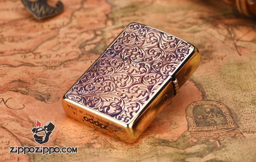 Bật lửa Zippo Đồng khắc hoa văn Arabesque 1000
