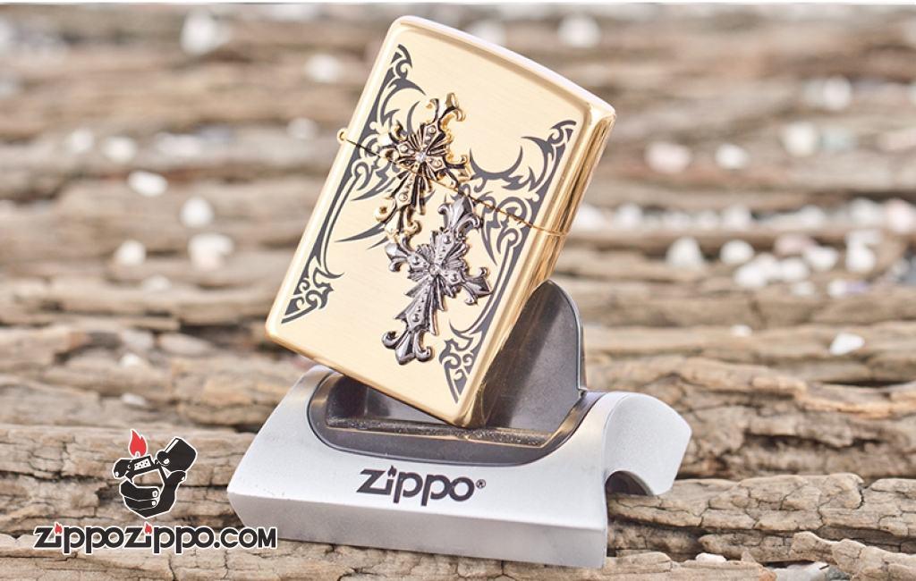 Bật lửa Zippo đồng khắc nổi hình thánh giá