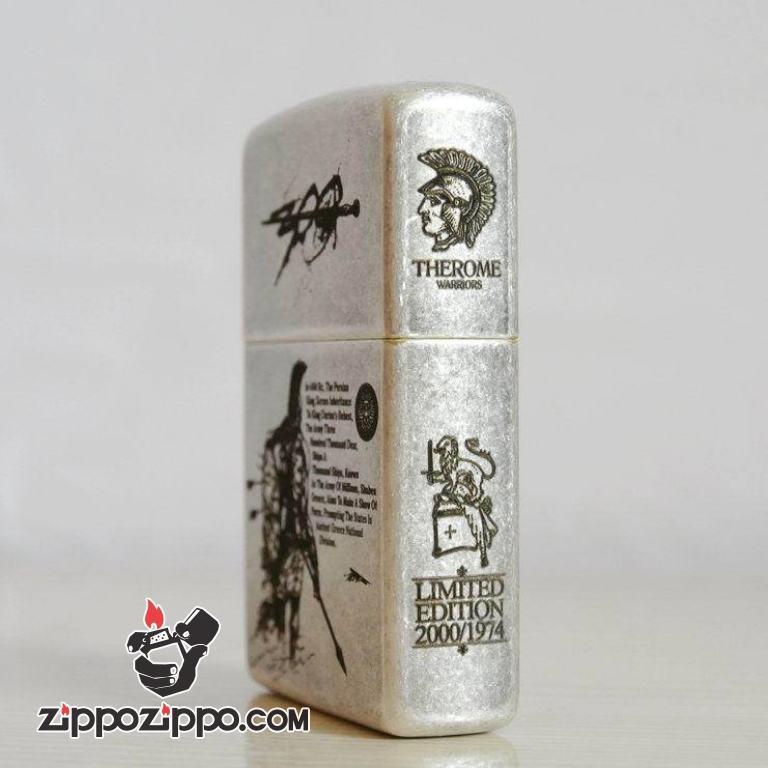 Bật lửa Zippo bạc cổ khắc 300 chiến binh