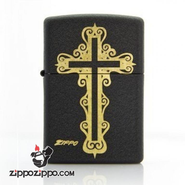 Bật lửa Zippo phiên bản Original in thánh giá chéo vàng