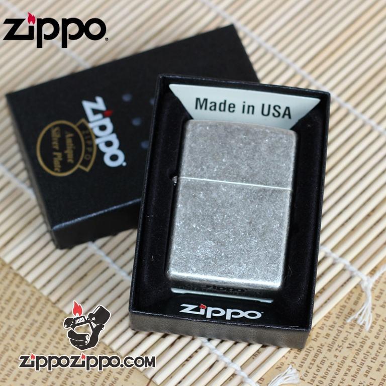 Bật lửa Zippo Bạc Cổ Trơn Vỏ Dày