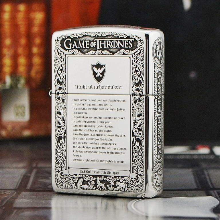 Bật lửa Zippo Bạc nguyên khối Game of Thrones New