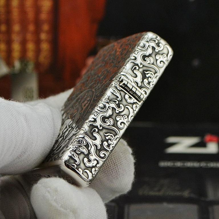 Bật lửa Zippo Bạc nguyên khối khắc Phật Như Lai