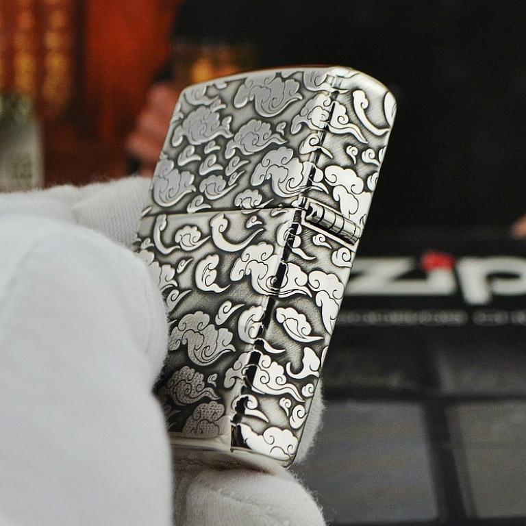 Bật lửa Zippo phiên bản Bạc nguyên khối khắc Rồng nhả ngọc
