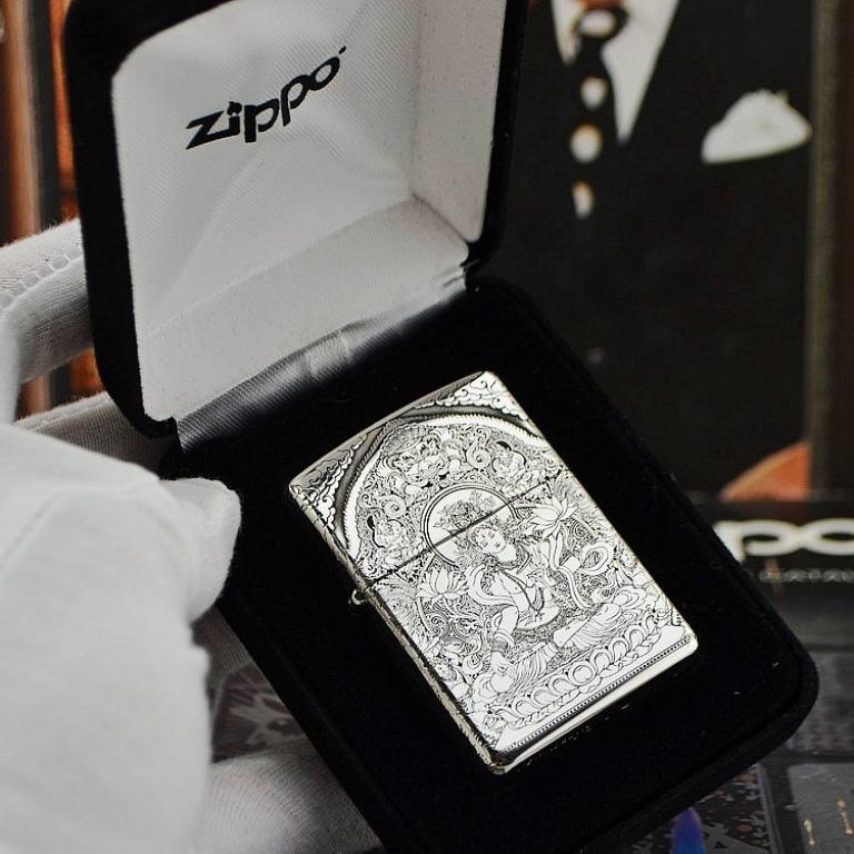 Bật lửa Zippo phiên bản Bạc nguyên khối Goddess of Mercy